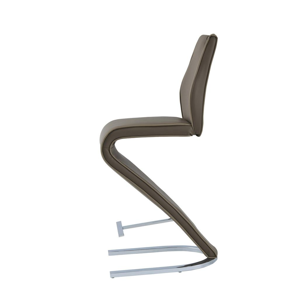 Set of 2 Cappucino Z style design Barstools with Metalic Base  and Seat Back Handle - 383951. Picture 3