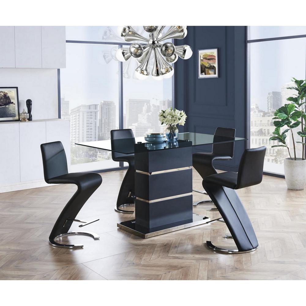 Set of 2 Black Z Shape design Barstools with Horse Shoe Shape Base - 383952. Picture 5