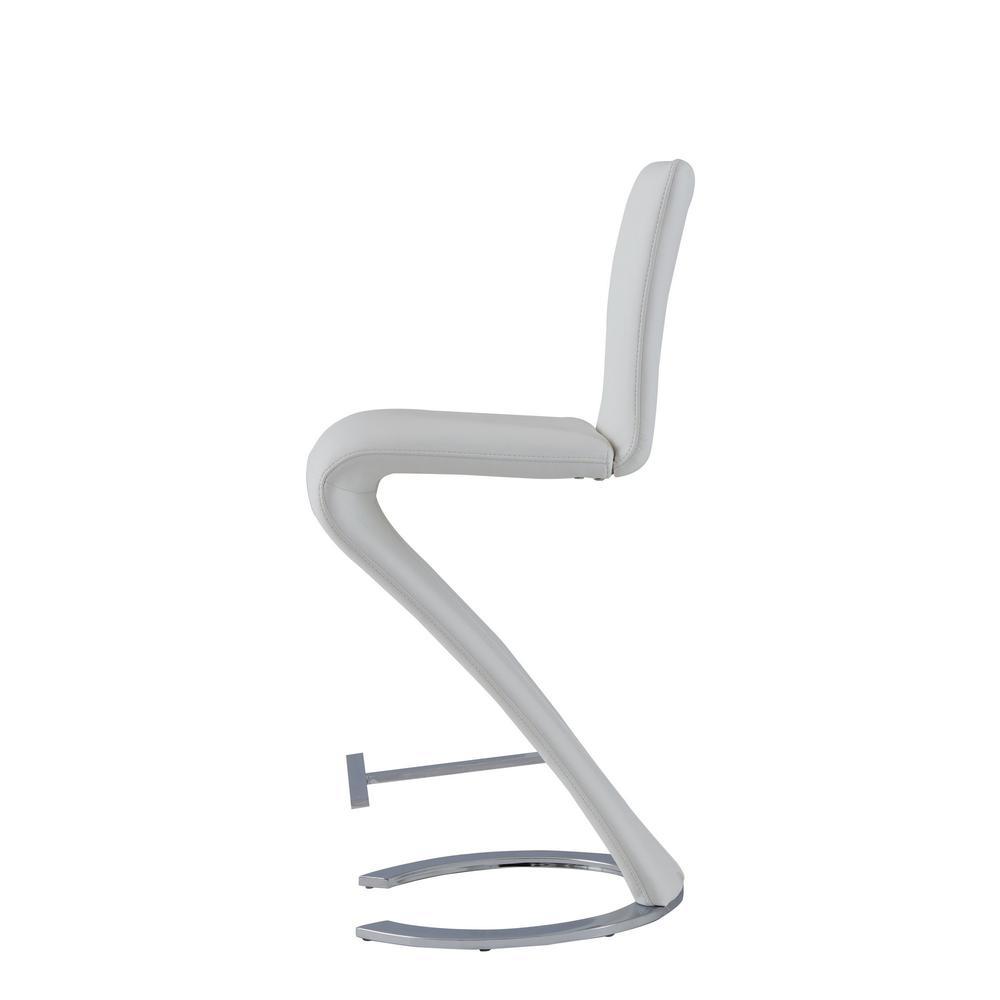 Set of 2 White Z Shape design Barstools with Horse Shoe Shape Base - 383953. Picture 3