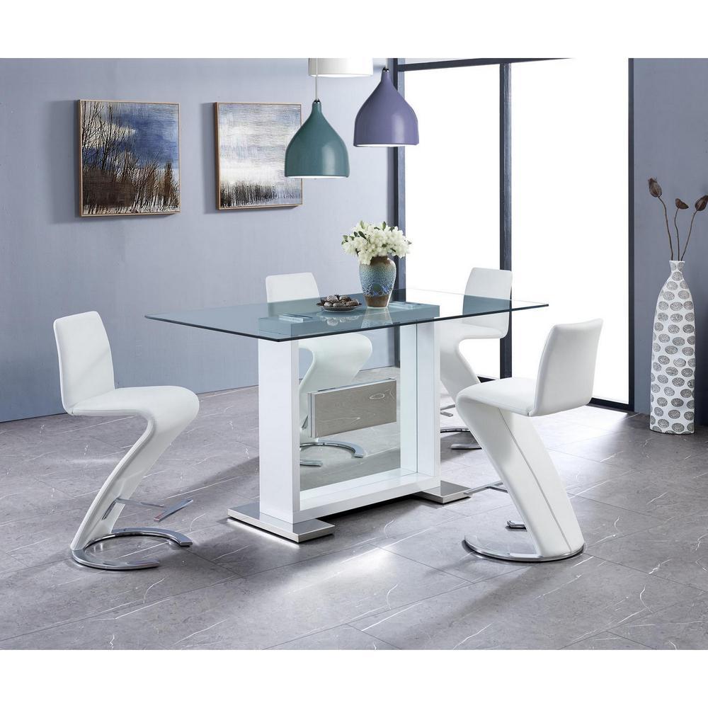 Set of 2 White Z Shape design Barstools with Horse Shoe Shape Base - 383953. Picture 5