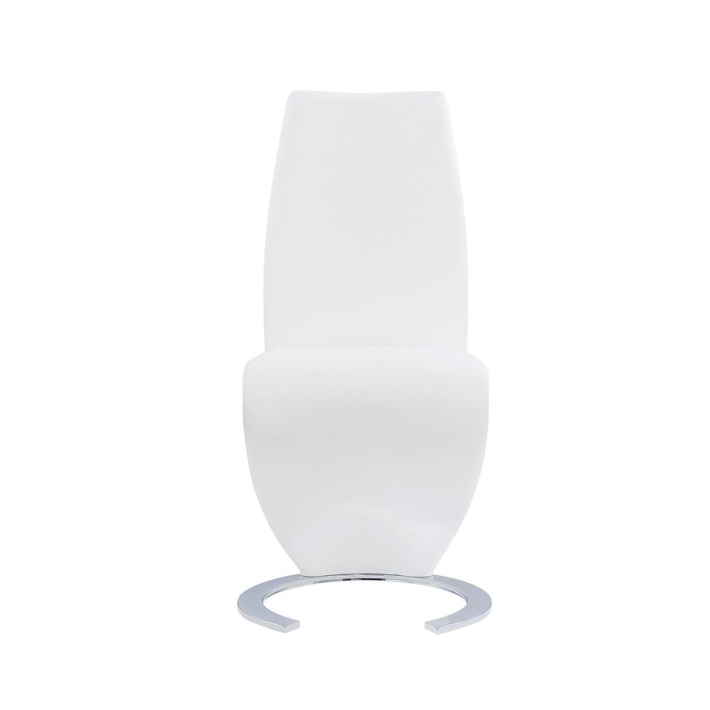 Set of 2 White  Z Shape design Dining Chairs with Horse Shoe Shape Base - 383955. Picture 1
