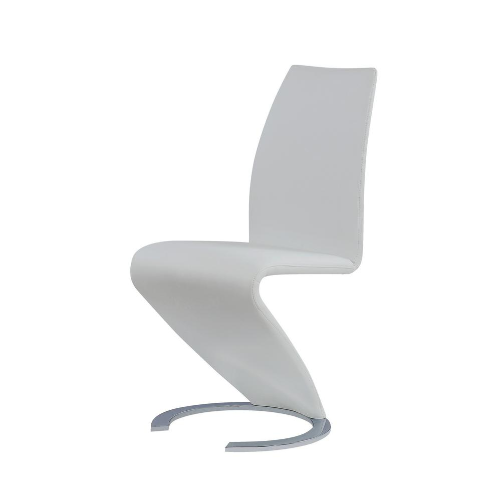 Set of 2 White  Z Shape design Dining Chairs with Horse Shoe Shape Base - 383955. Picture 2