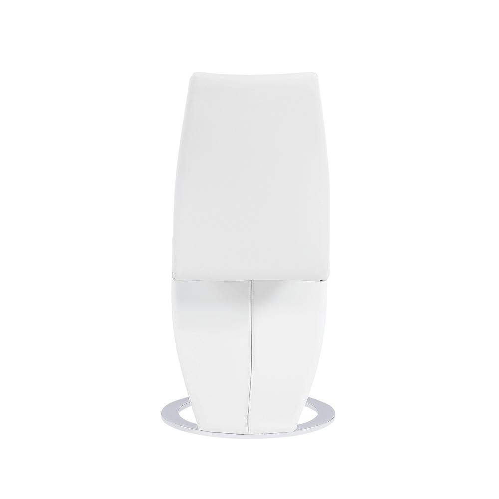 Set of 2 White  Z Shape design Dining Chairs with Horse Shoe Shape Base - 383955. Picture 4