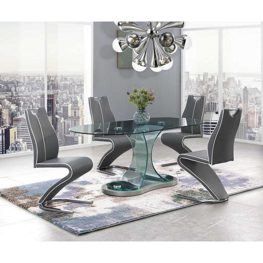 Set of 2 Grey and White Z style design Dining Chairs with Metalic Base and Seat Back Handle - 383958. Picture 5
