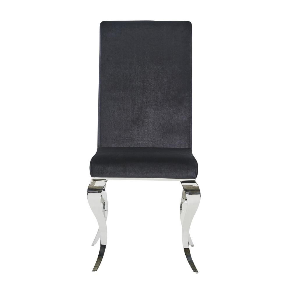 Set of 2 Black Dining Chairs with Silver Tone Legs - 383959. Picture 1