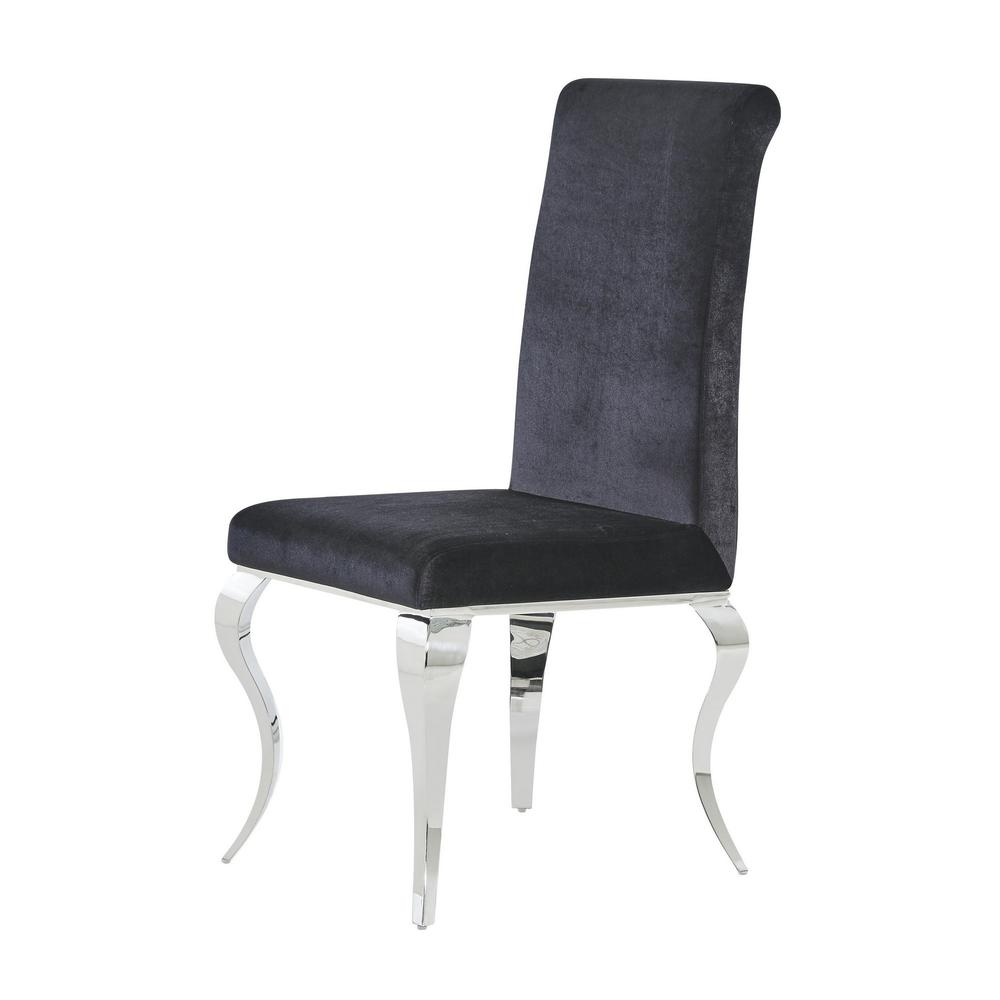 Set of 2 Black Dining Chairs with Silver Tone Legs - 383959. Picture 2