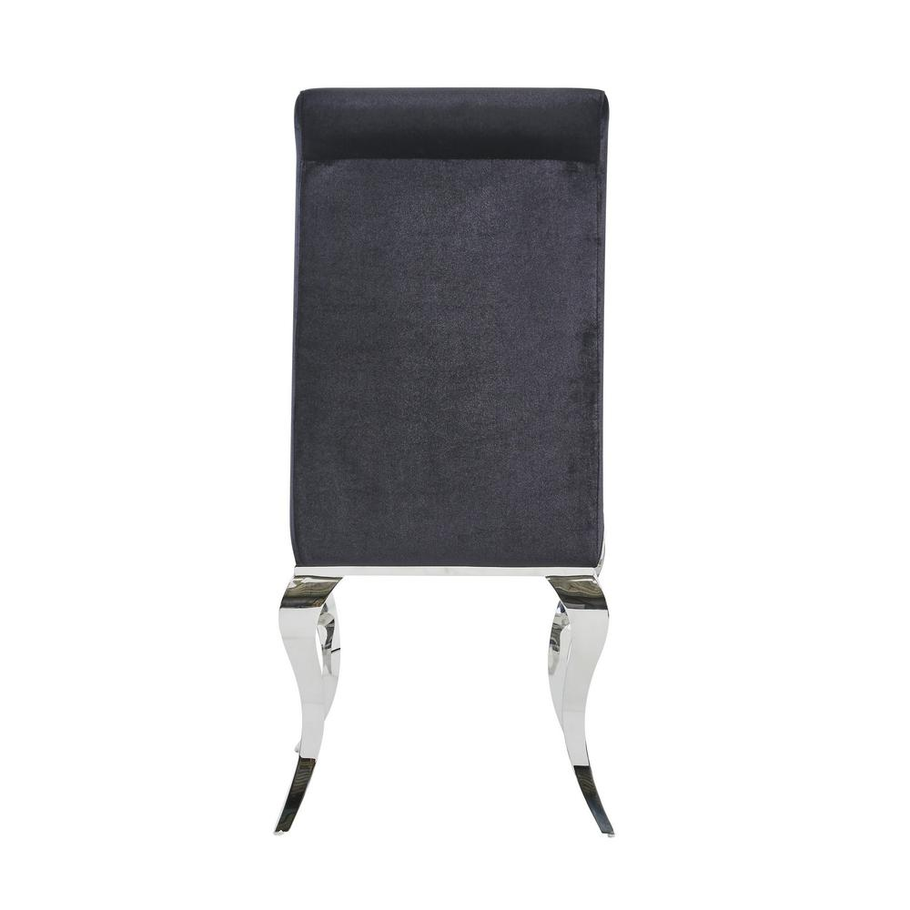 Set of 2 Black Dining Chairs with Silver Tone Legs - 383959. Picture 4