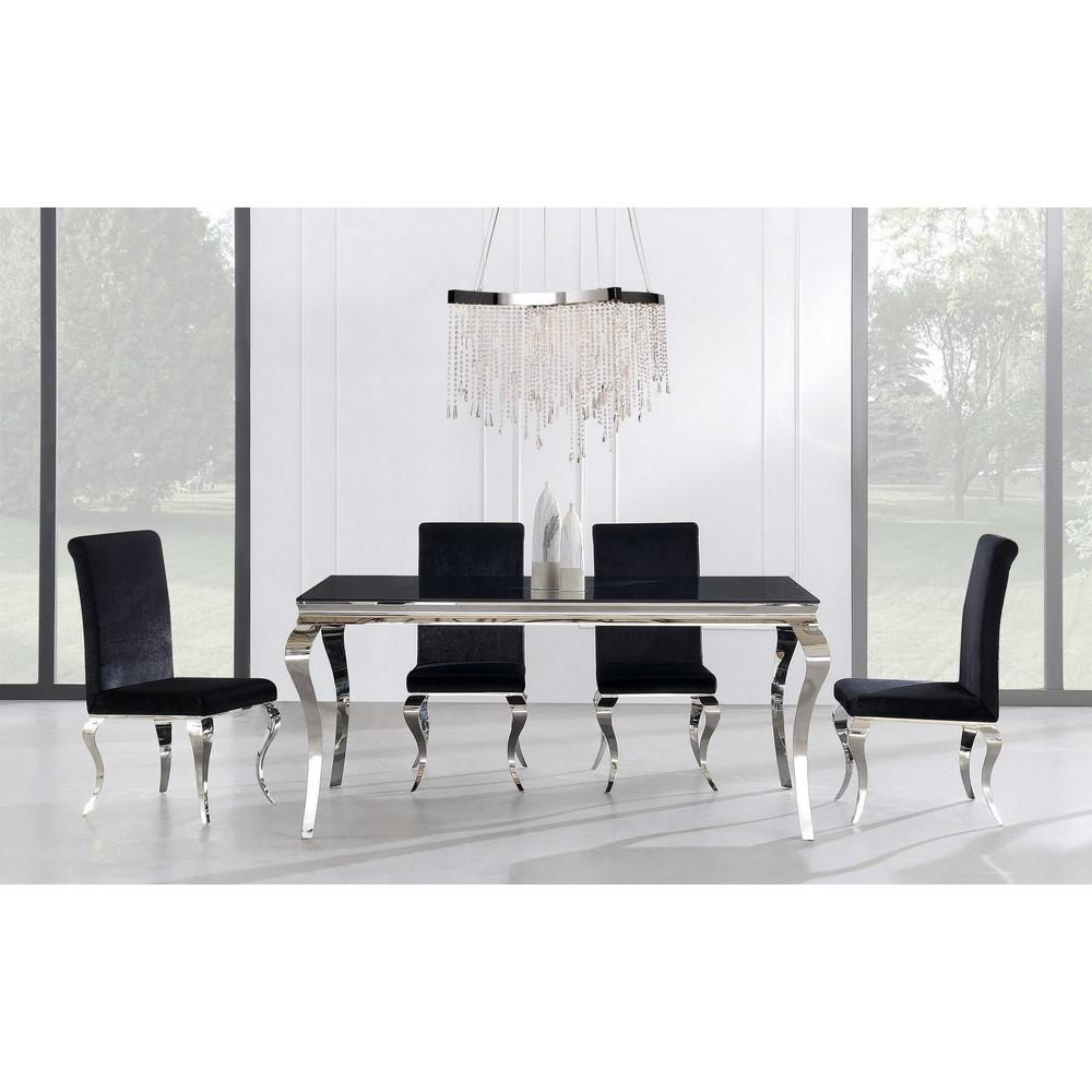 Set of 2 Black Dining Chairs with Silver Tone Legs - 383959. Picture 5