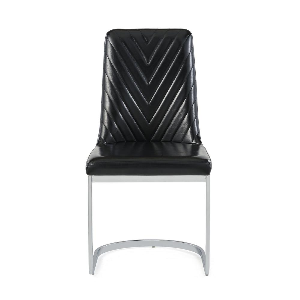 Set of 2 Modern Black Dining Chairs with Horse Shoe Style Metal Base - 383960. Picture 1