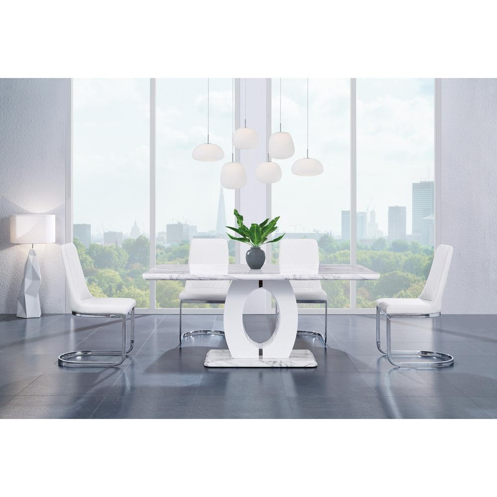 Set of 2 Modern White Dining Chairs with Horse Shoe Style Metal Base - 383961. Picture 2