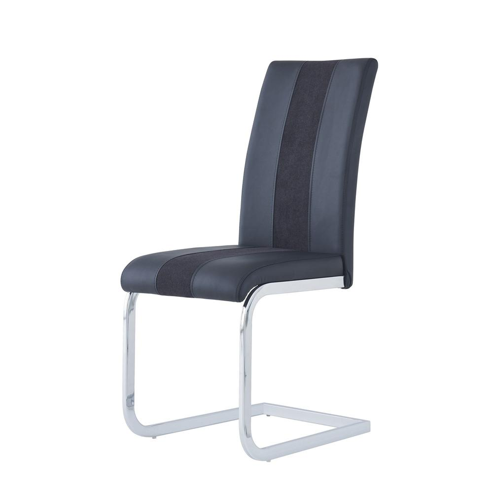 Set of 4 Black Two toned Dining Chairs with Silver Tone Metal Base - 383963. Picture 2
