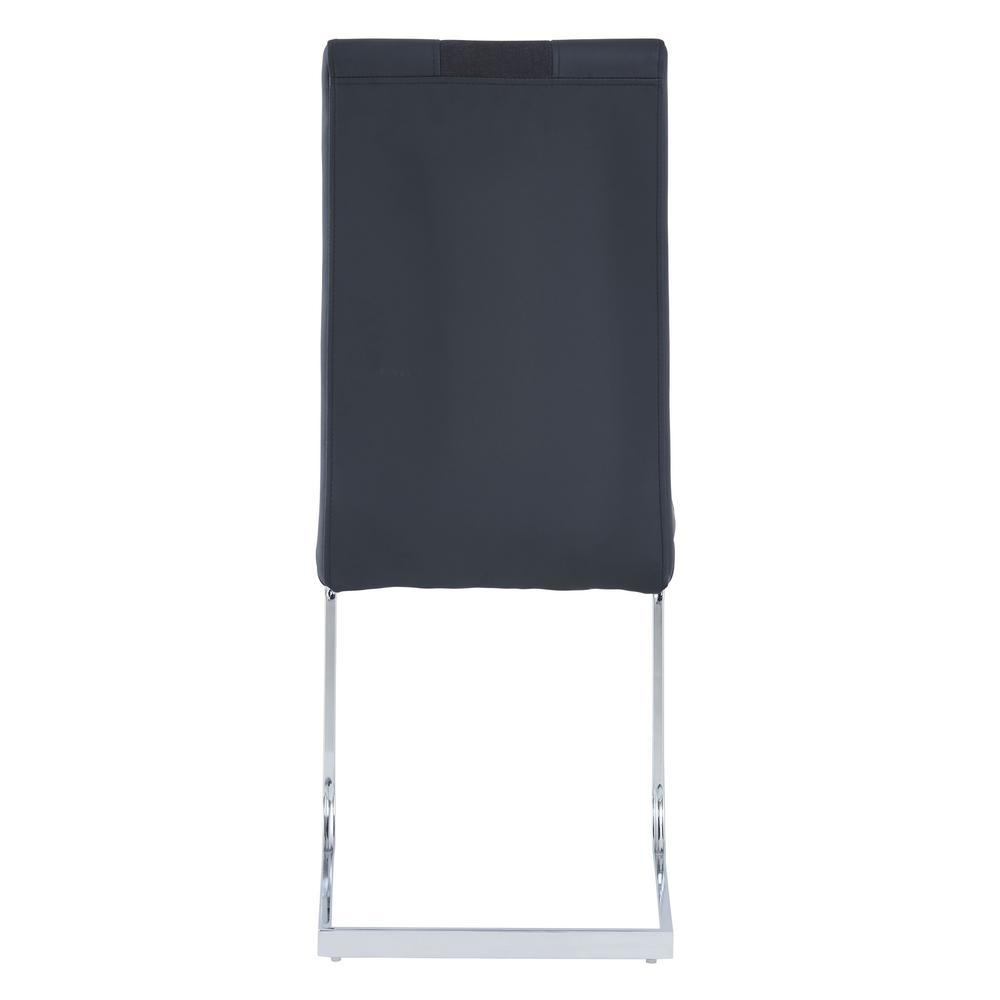 Set of 4 Black Two toned Dining Chairs with Silver Tone Metal Base - 383963. Picture 4