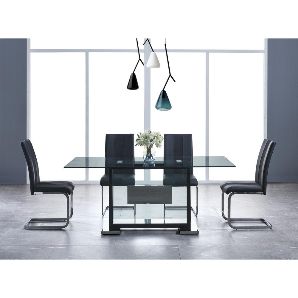 Set of 4 Black Two toned Dining Chairs with Silver Tone Metal Base - 383963. Picture 5