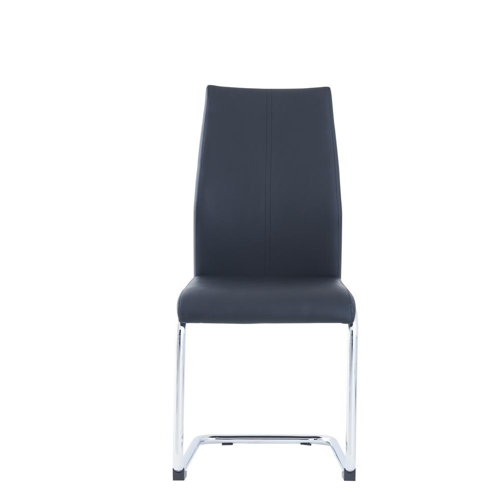 Set of 4 Modern Black Dining Chairs with Chrome Metal Base - 383966. Picture 1