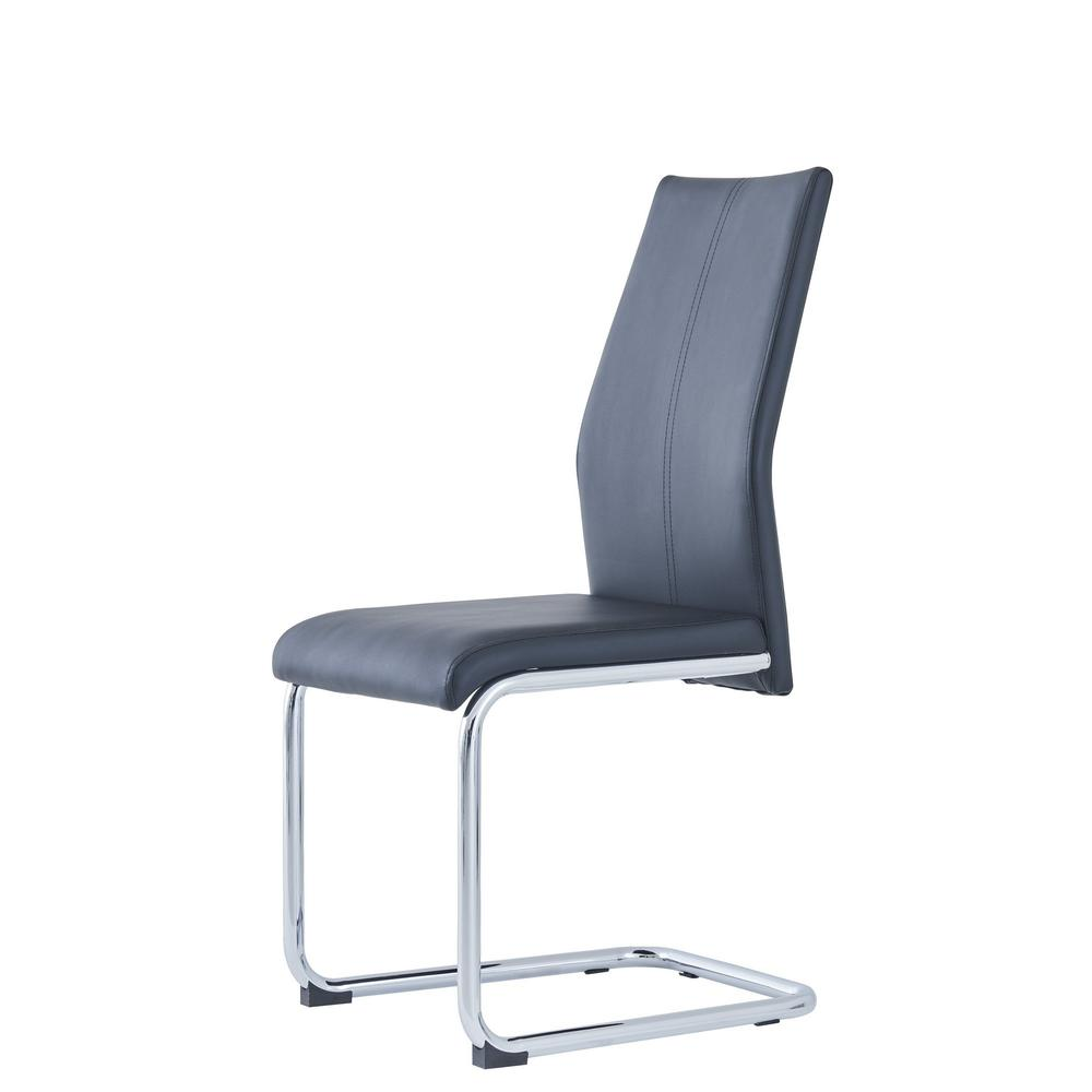 Set of 4 Modern Black Dining Chairs with Chrome Metal Base - 383966. Picture 2