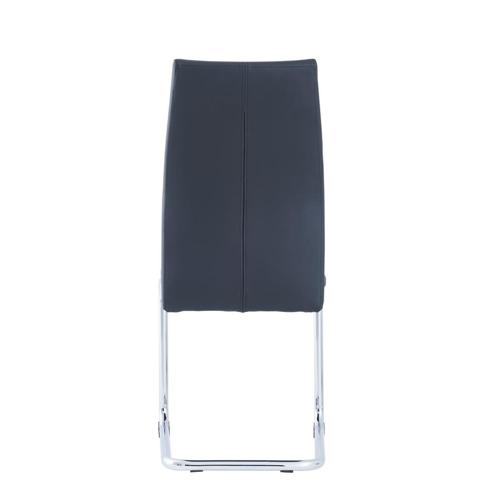 Set of 4 Modern Black Dining Chairs with Chrome Metal Base - 383966. Picture 4