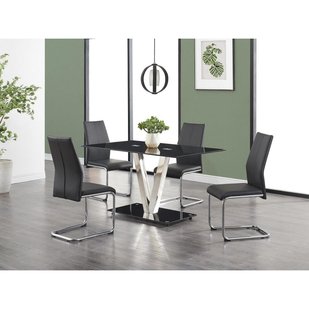 Set of 4 Modern Black Dining Chairs with Chrome Metal Base - 383966. Picture 5