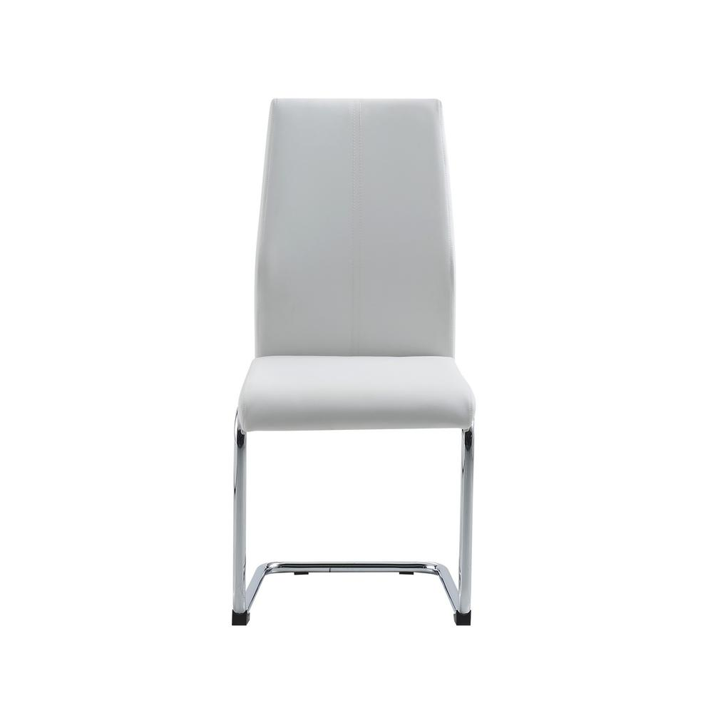 Set of 4 Modern White Dining Chairs with Chrome Metal Base - 383967. Picture 1