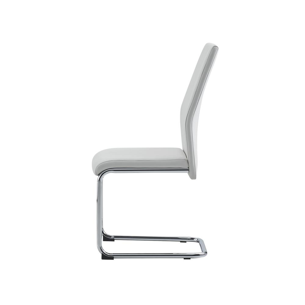 Set of 4 Modern White Dining Chairs with Chrome Metal Base - 383967. Picture 3