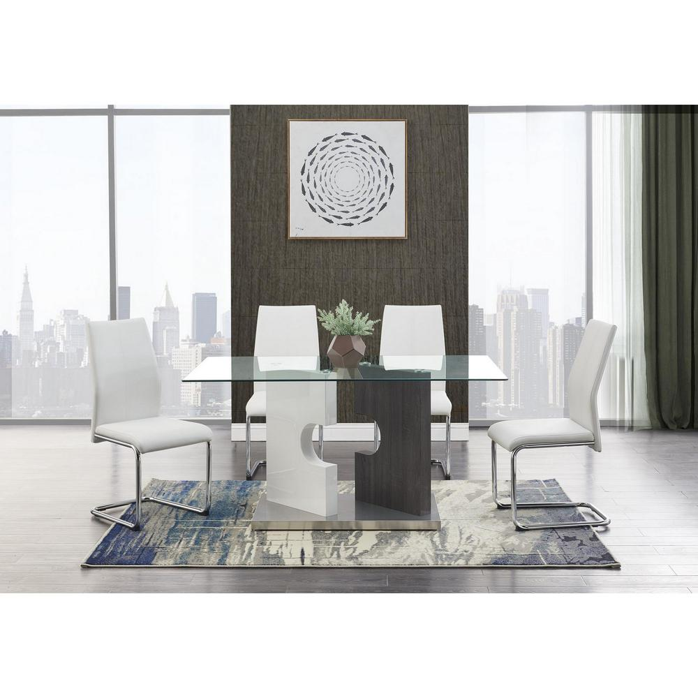 Set of 4 Modern White Dining Chairs with Chrome Metal Base - 383967. Picture 5