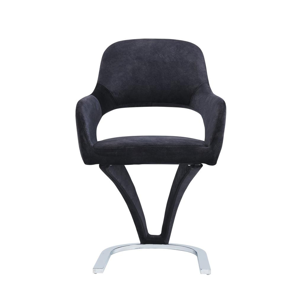 Set of 2 Black Velvet Fabric Dining Chairs with Horse Shoe Style Metal Base - 383971. Picture 1