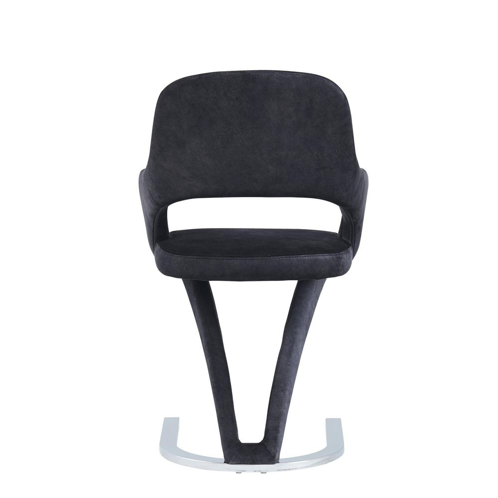 Set of 2 Black Velvet Fabric Dining Chairs with Horse Shoe Style Metal Base - 383971. Picture 4