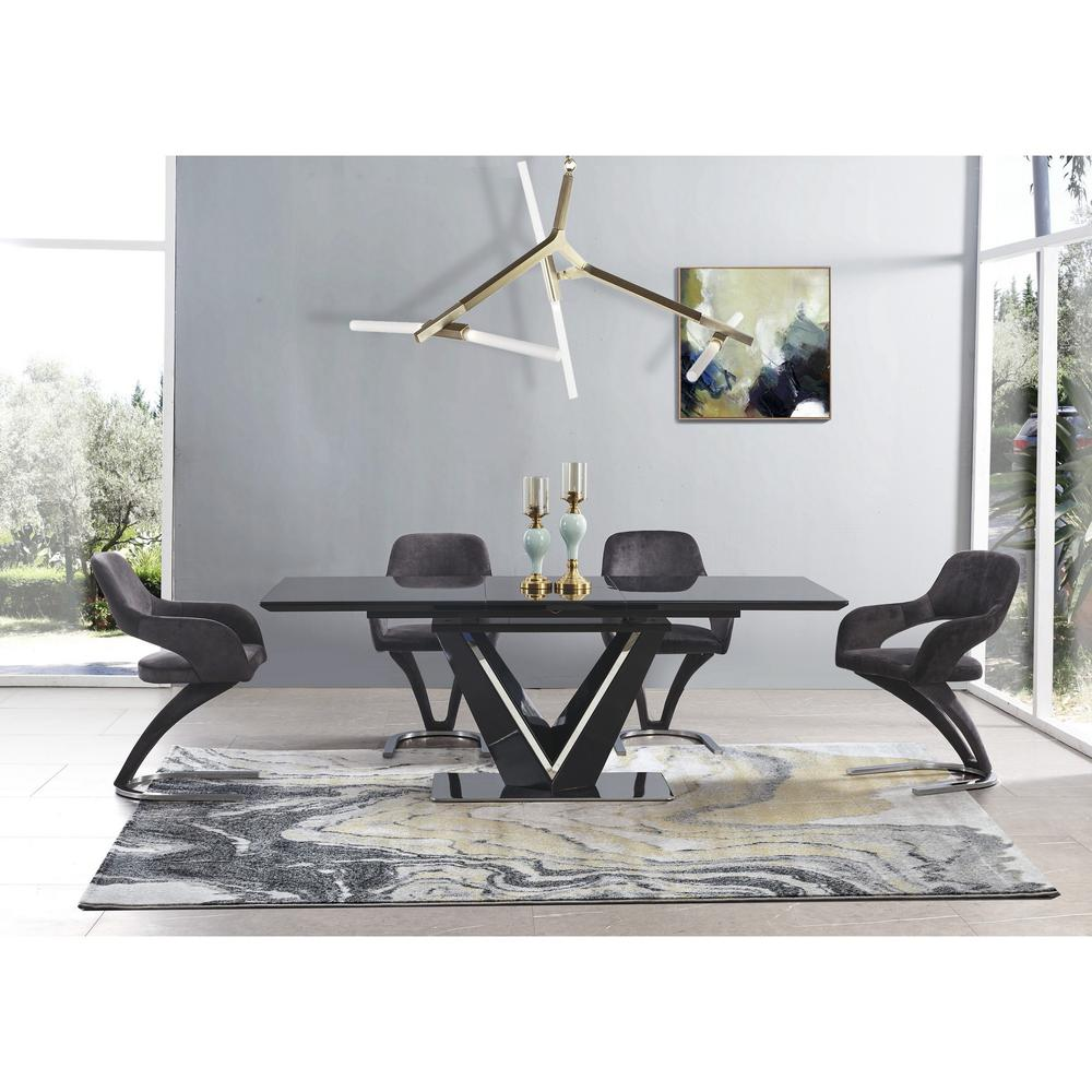 Set of 2 Black Velvet Fabric Dining Chairs with Horse Shoe Style Metal Base - 383971. Picture 5