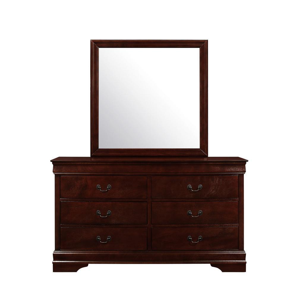 Modern Merlot Toned Mirror with Sleek Wood Trim - 383978. Picture 1