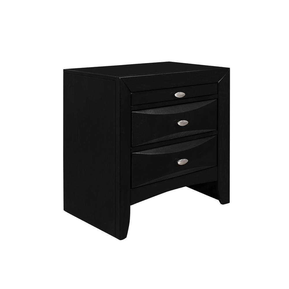Black Nightstand with 2 Chambered Drawer - 384019. Picture 2