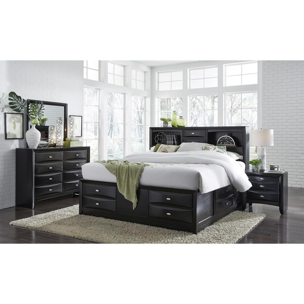 Black Nightstand with 2 Chambered Drawer - 384019. Picture 3
