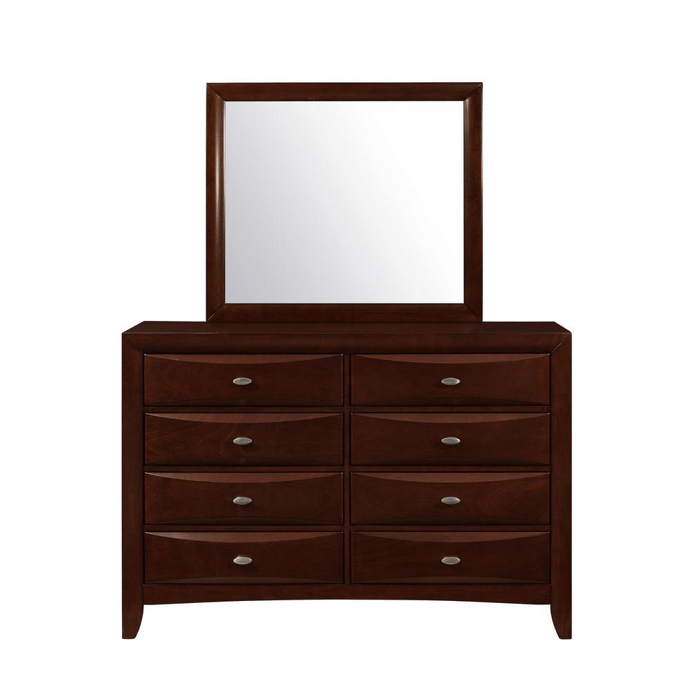 New Merlot Mirror with Rectangular Sleek Wood Trim - 384022. Picture 1