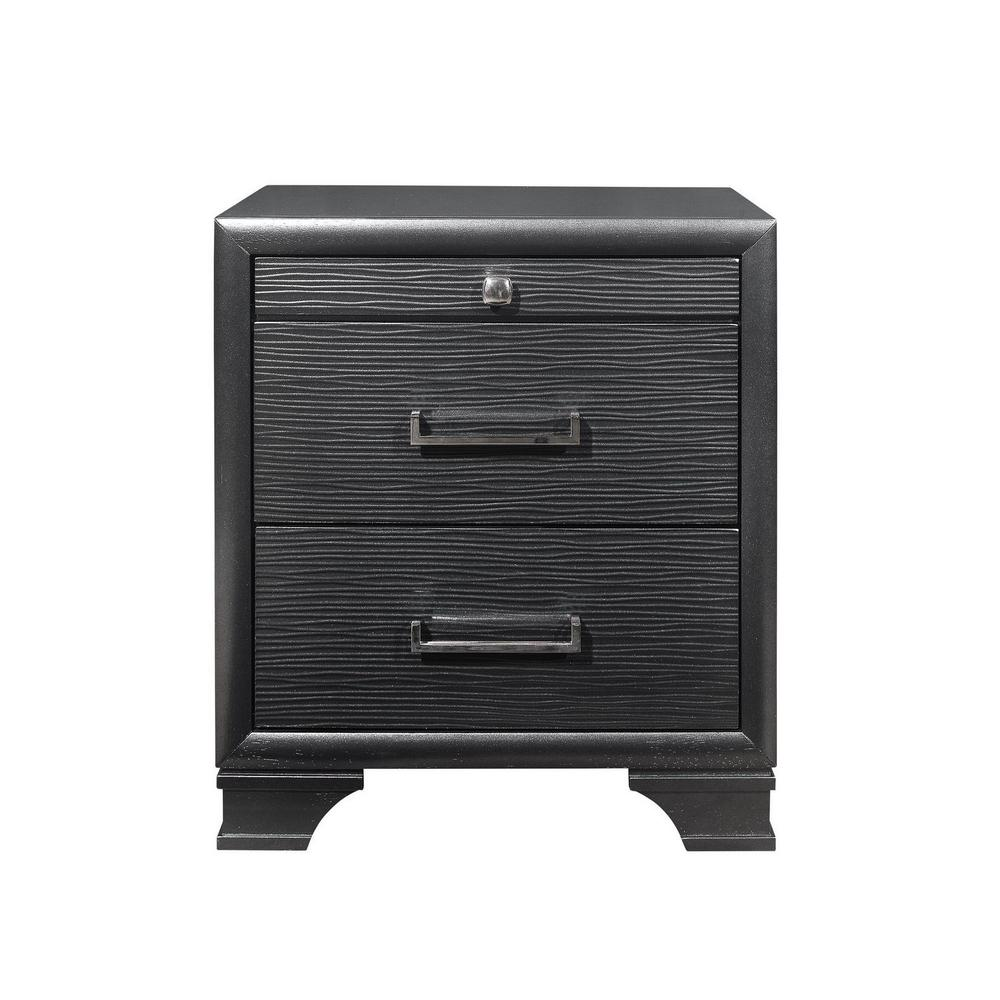 Grey Nightstand with 3 Drawers - 384061. Picture 1