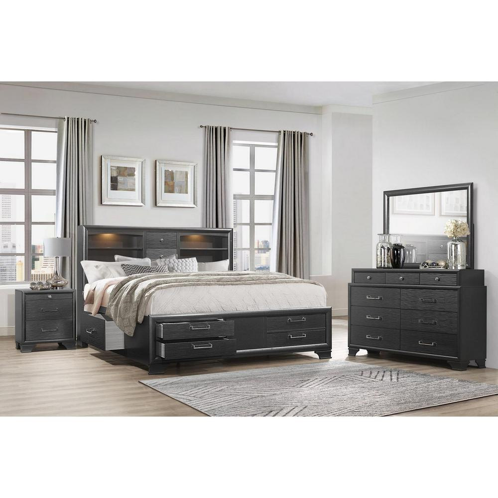 Grey Nightstand with 3 Drawers - 384061. Picture 3