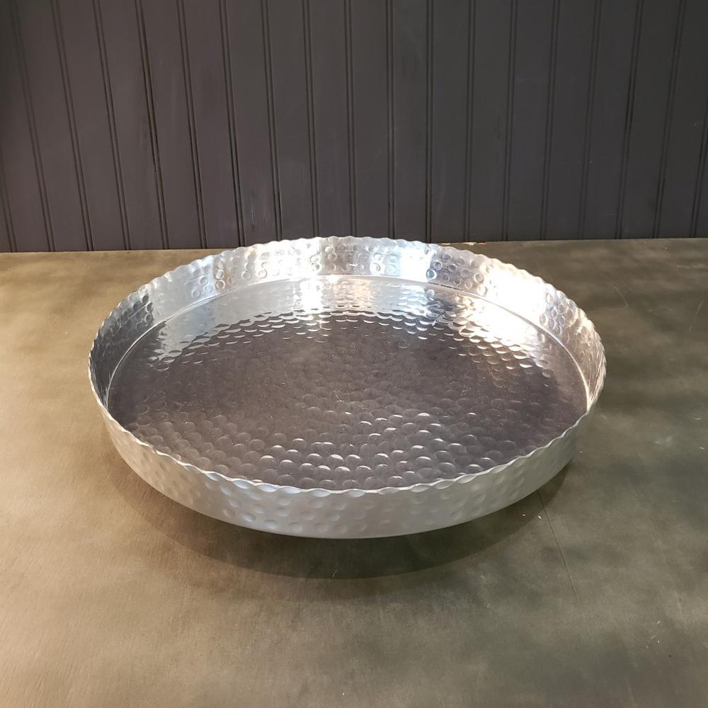 """Handcrafted 13"""" Hammered Stainless Steel Round Tray - 384085. Picture 1"""
