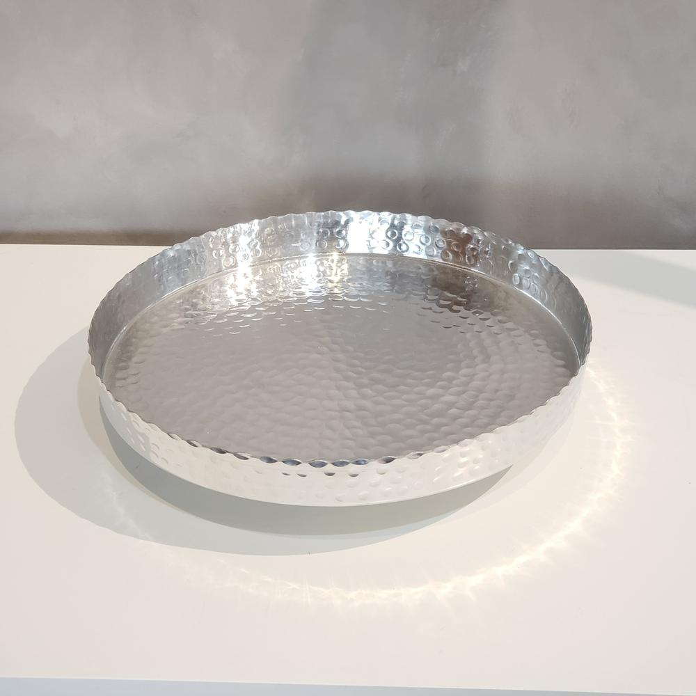 """Handcrafted 13"""" Hammered Stainless Steel Round Tray - 384085. Picture 2"""