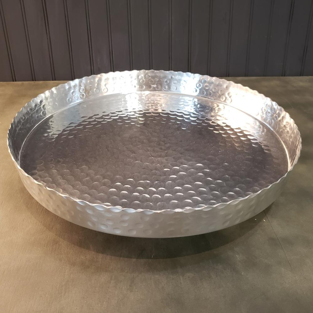 """Handcrafted 13"""" Hammered Stainless Steel Round Tray - 384085. Picture 3"""