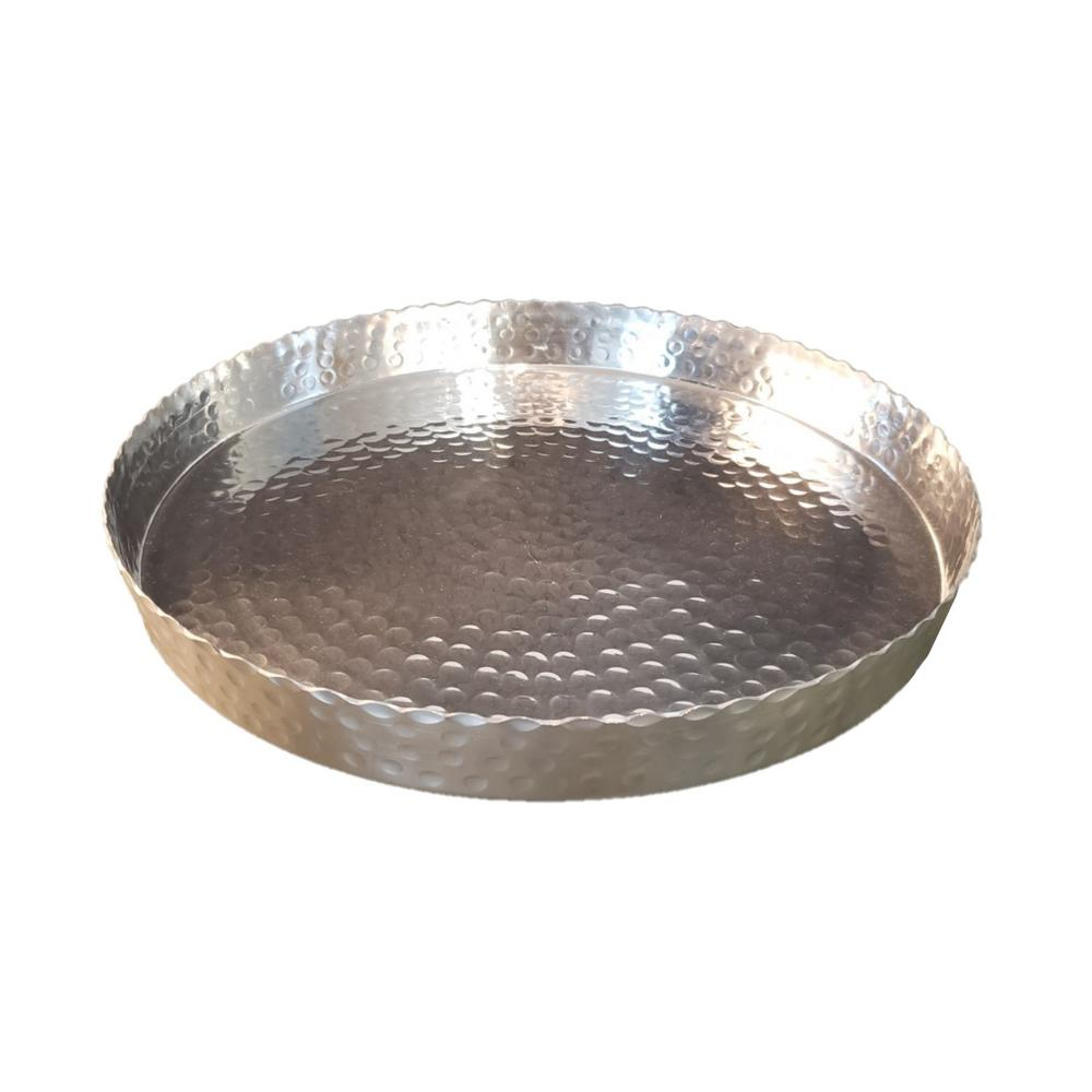 """Handcrafted 13"""" Hammered Stainless Steel Round Tray - 384085. Picture 4"""