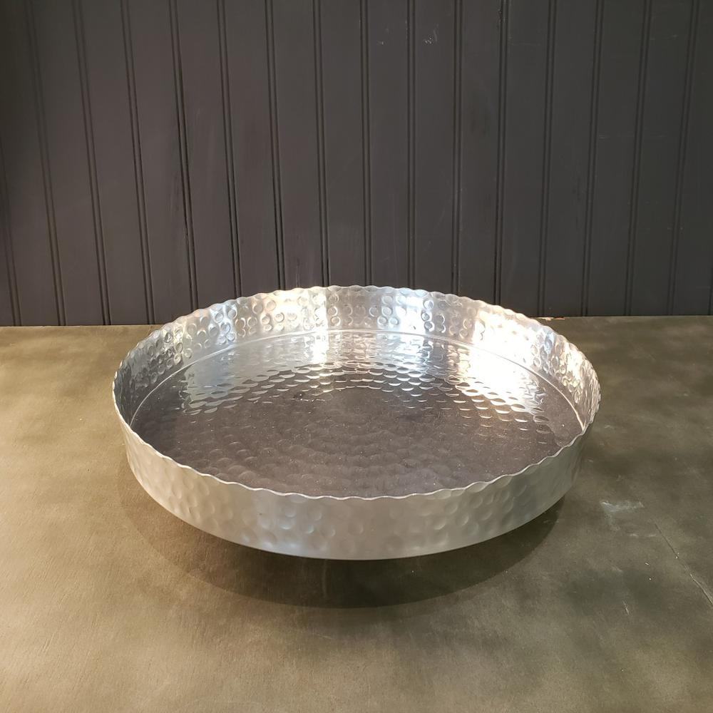 """Handcrafted 13"""" Hammered Stainless Steel Round Tray - 384087. Picture 2"""