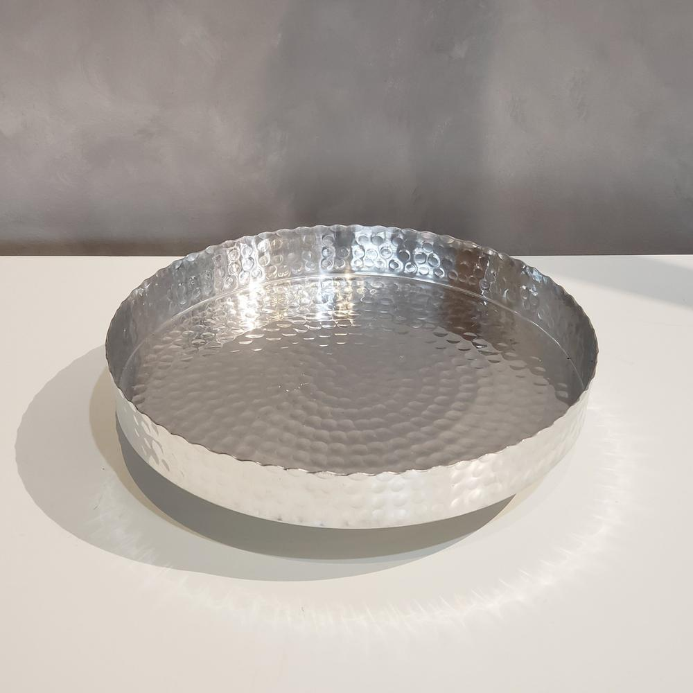 """Handcrafted 13"""" Hammered Stainless Steel Round Tray - 384087. Picture 3"""