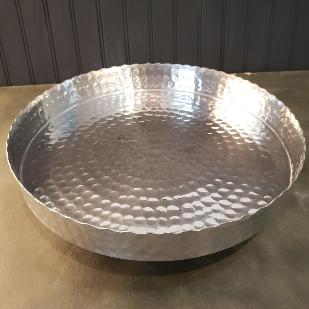 """Handcrafted 13"""" Hammered Stainless Steel Round Tray - 384087. Picture 4"""