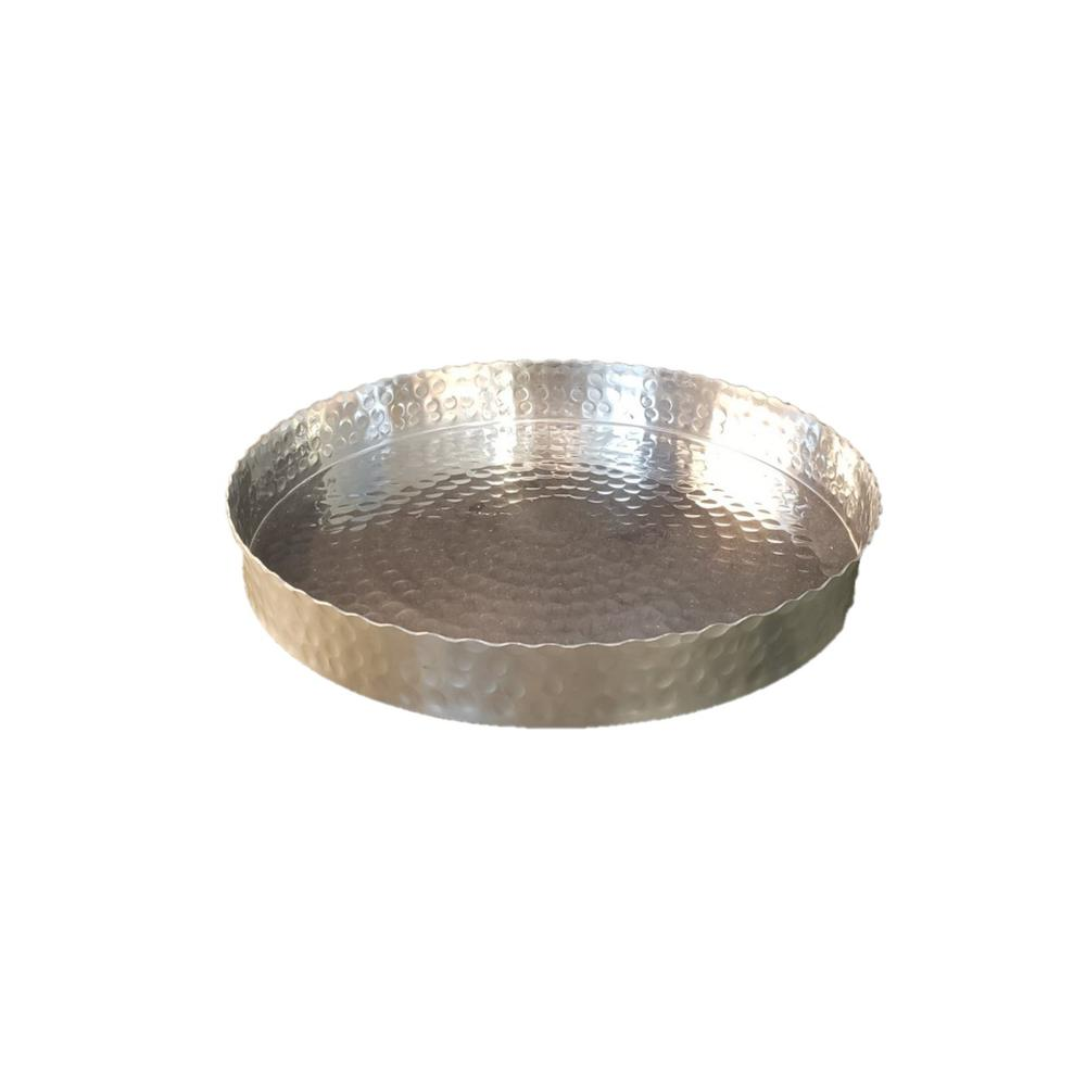 """Handcrafted 13"""" Hammered Stainless Steel Round Tray - 384087. Picture 5"""