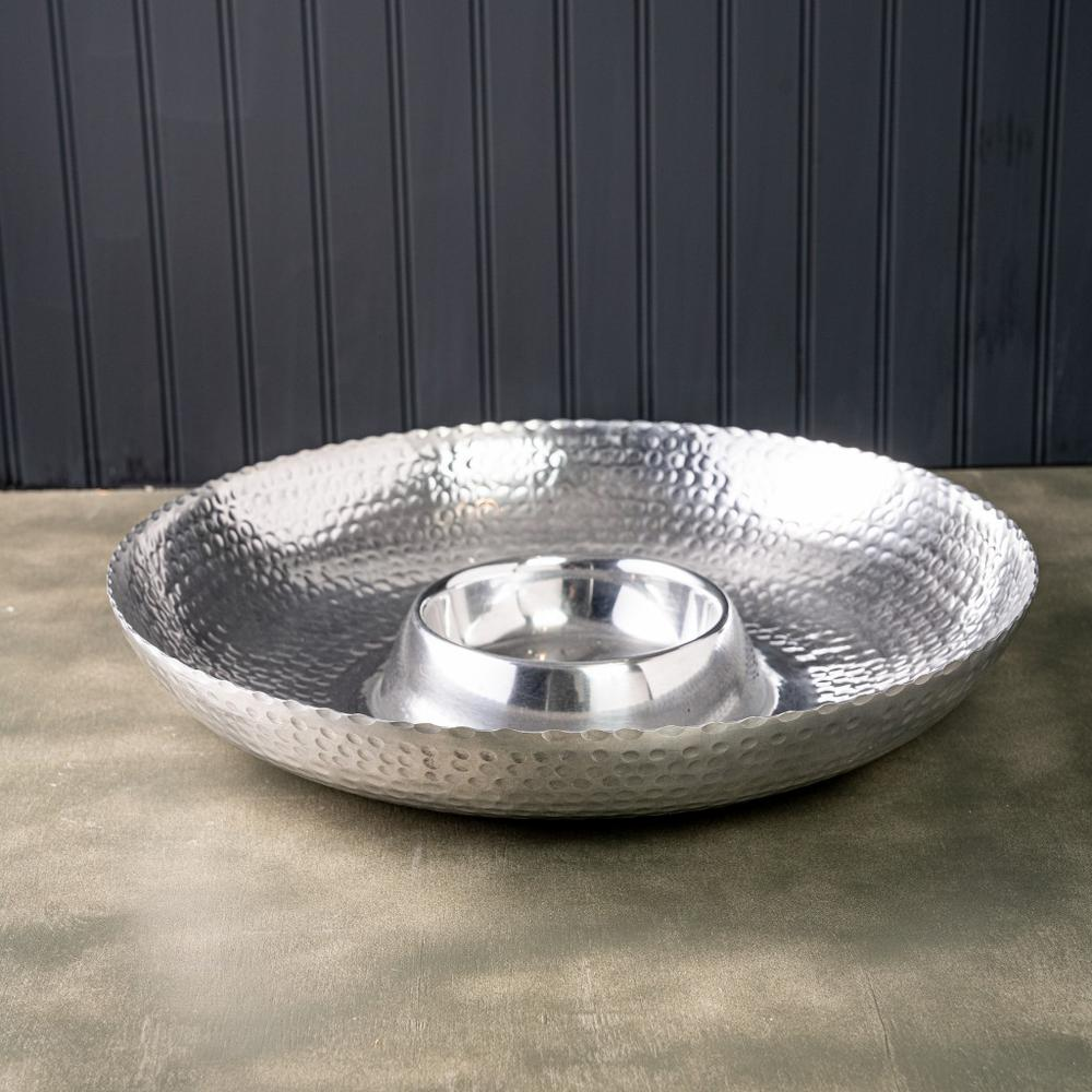 Handcrafted Hammered Stainless Steel Chip and Dip Server - 384088. Picture 1