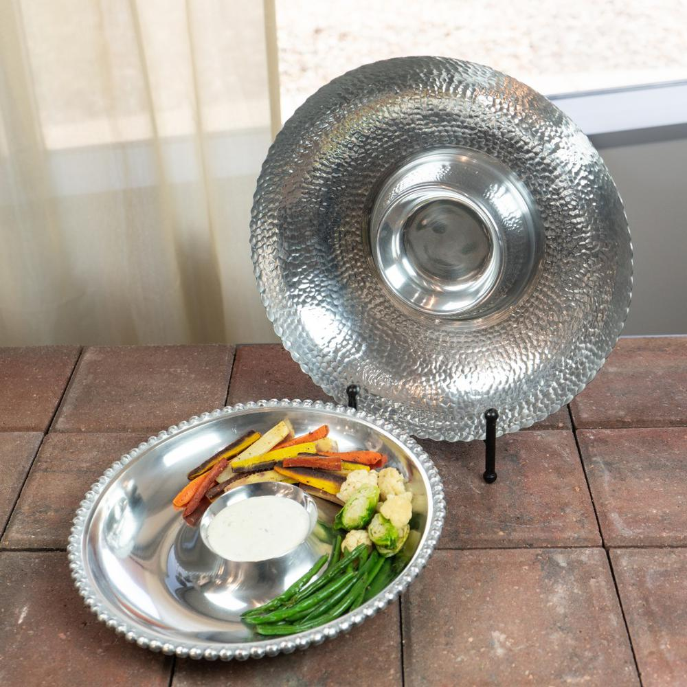 Handcrafted Hammered Stainless Steel Chip and Dip Server - 384088. Picture 2