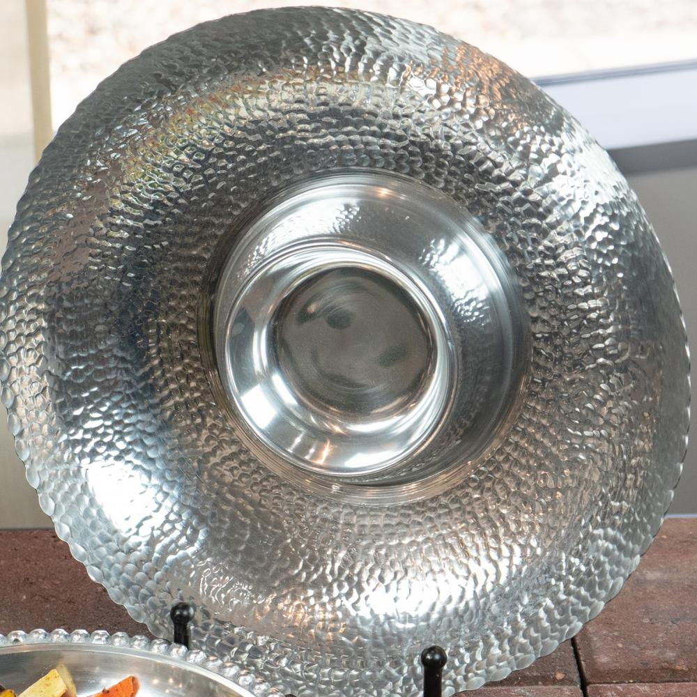 Handcrafted Hammered Stainless Steel Chip and Dip Server - 384088. Picture 5