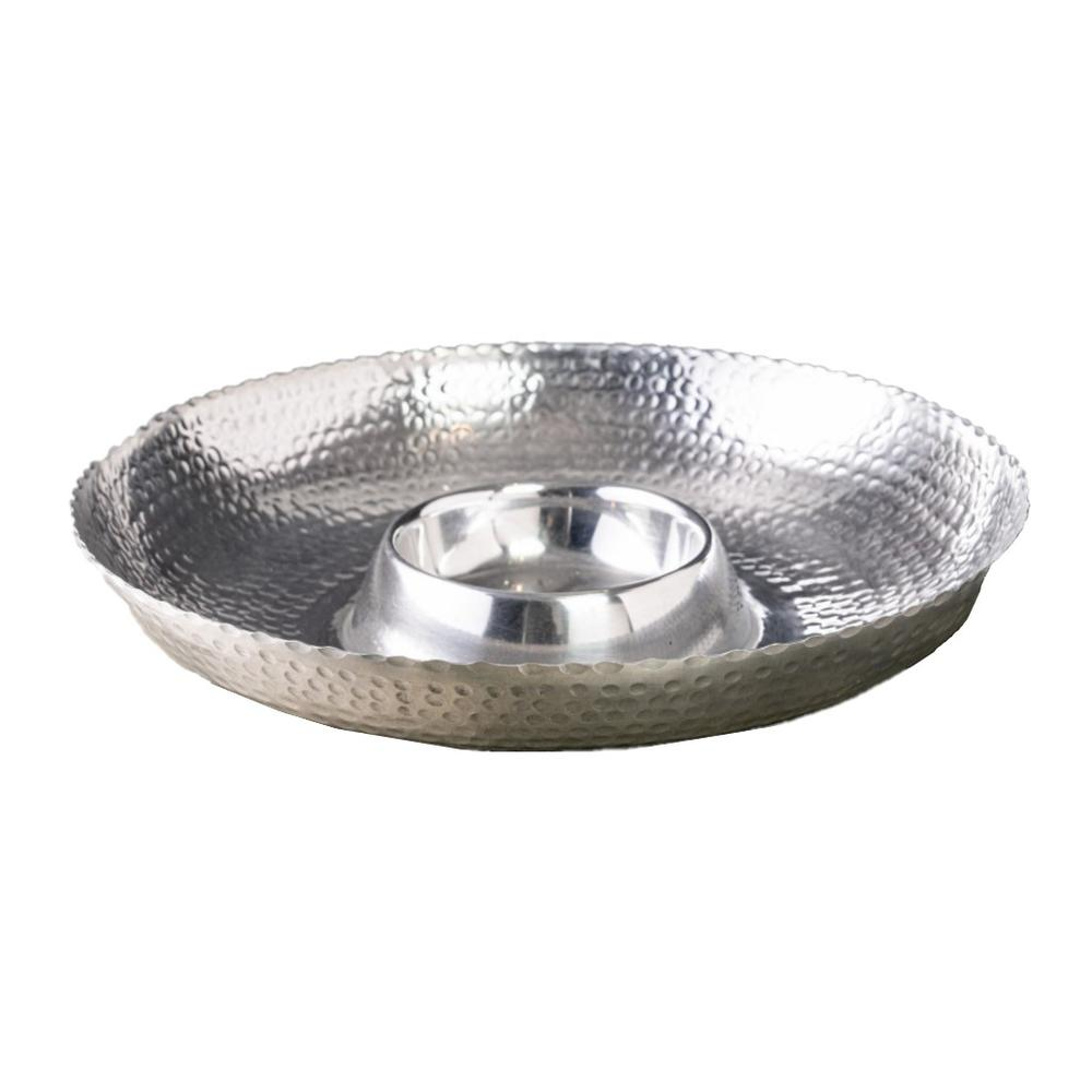 Handcrafted Hammered Stainless Steel Chip and Dip Server - 384088. Picture 6