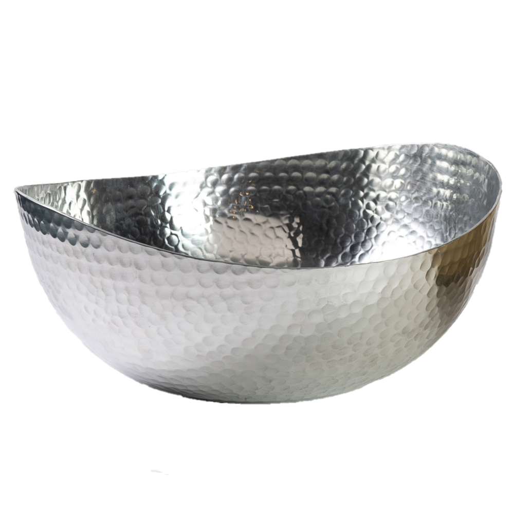 """Handcrafted 14.5"""" Hammered Stainless Steel Centerpiece Bowl - 384089. Picture 3"""