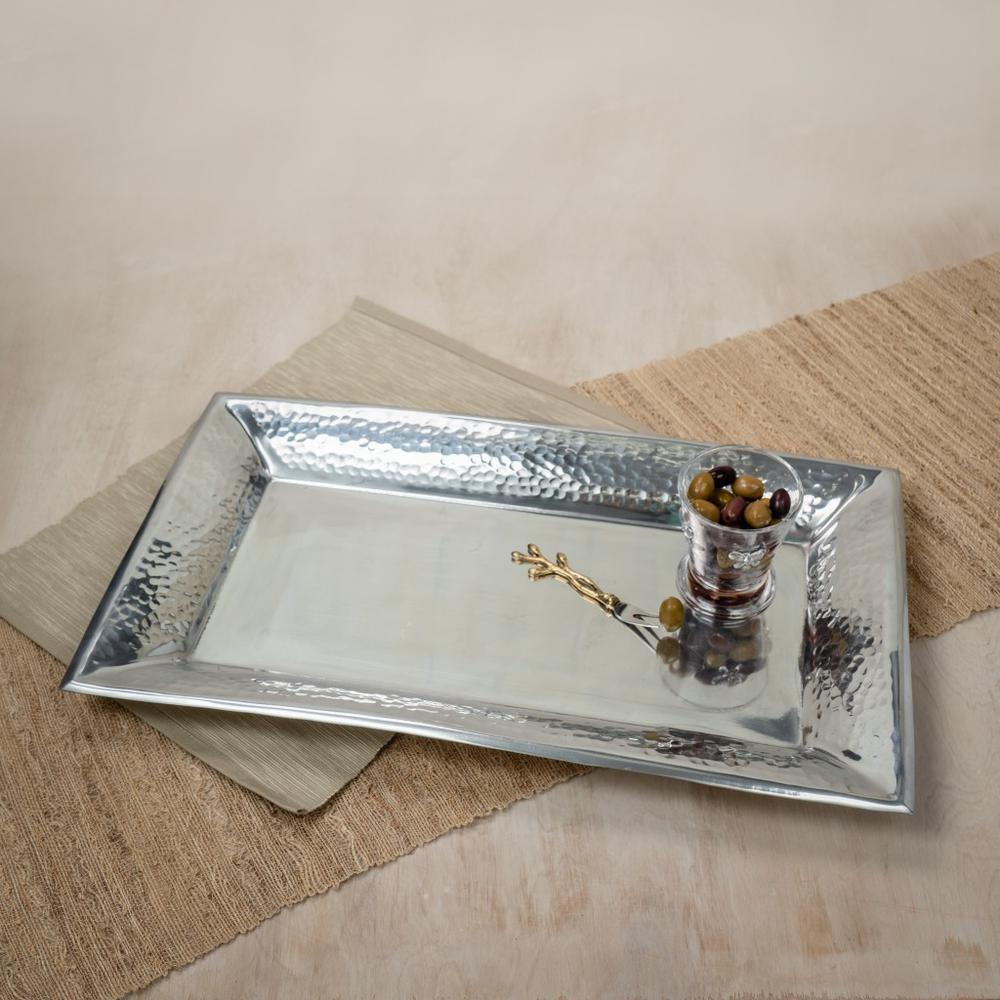 Handcrafted Hammered Stainless Steel Rectangular Tray - 384092. Picture 2
