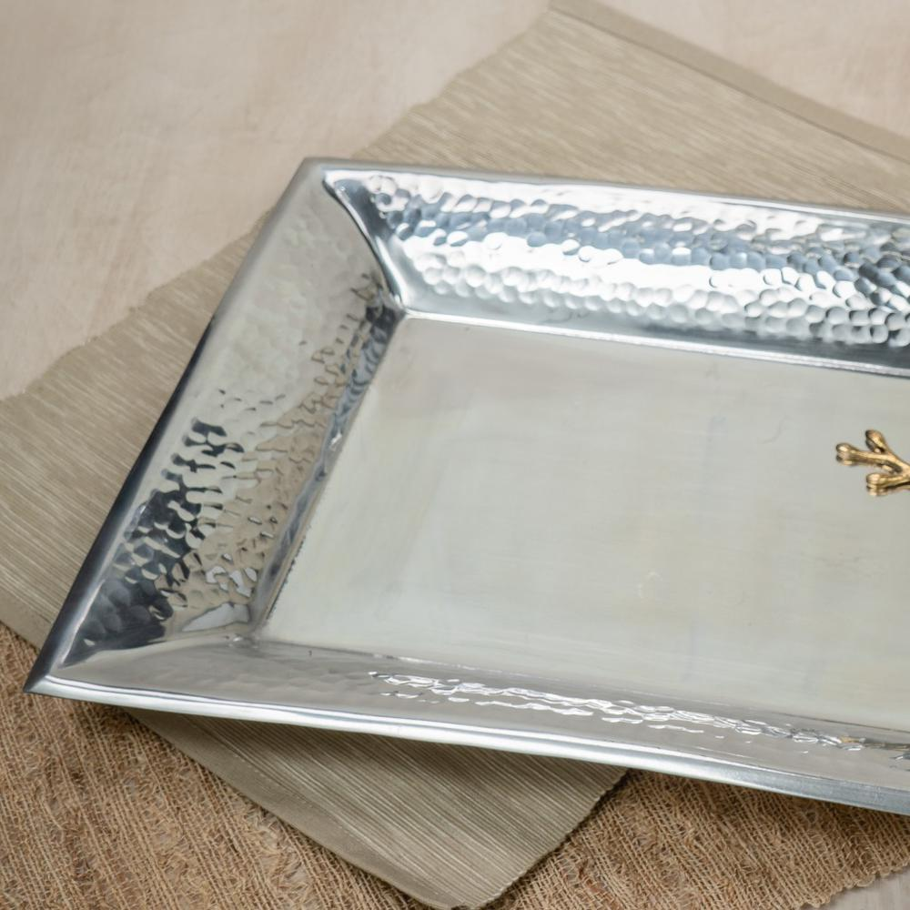 Handcrafted Hammered Stainless Steel Rectangular Tray - 384092. Picture 4