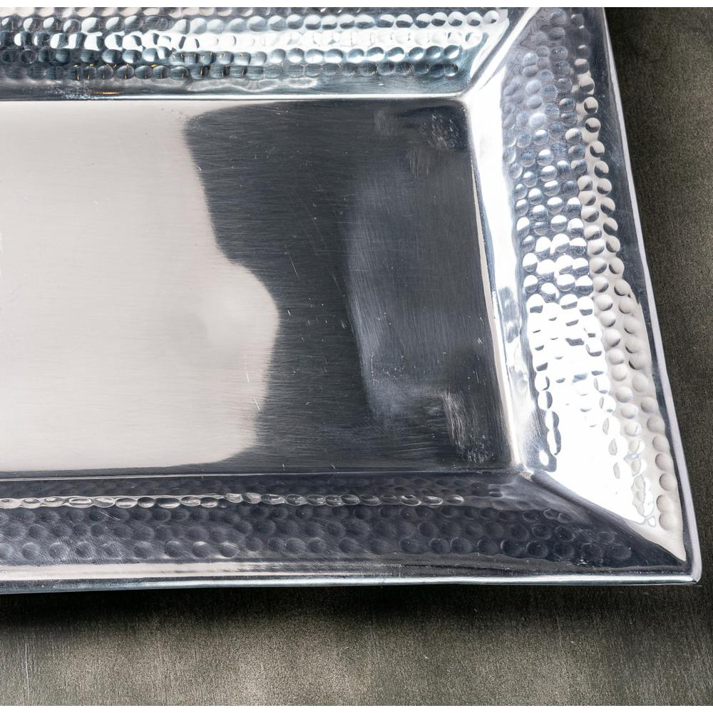Handcrafted Hammered Stainless Steel Rectangular Tray - 384092. Picture 5