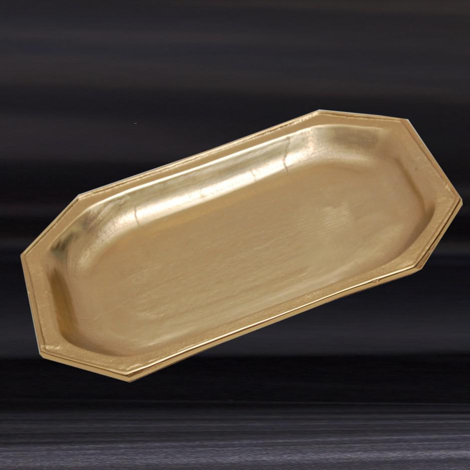 Gilded Gold Finish Textured Serving Tray - 384105. Picture 1